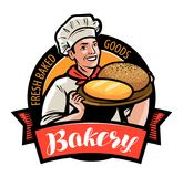 Bakery, bakehouse logo or label. Happy baker or cook with bread in hand. Vector illustration. Bakery, bakehouse logo or label. happy baker or chef, cook with vector illustration