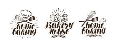 Bakery, bakehouse logo or label. Home baking lettering. Isolated on white background vector illustration