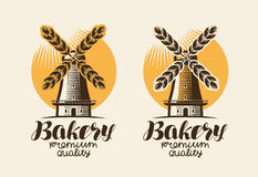 Bakery, bakehouse logo or label. Mill, windmill, ear wheat, bread symbol. Lettering, vintage vector illustration Royalty Free Stock Photography