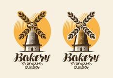 Bakery, bakehouse logo or label. Mill, windmill, ear wheat, bread symbol. Lettering, vintage vector illustration. Bakery, bakehouse logo or label. Mill, windmill vector illustration