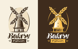 Bakery, bakehouse logo or label. Mill, windmill, wheat, bread icon. Lettering, calligraphy vector illustration. Bakery, bakehouse logo or label. Mill, windmill vector illustration