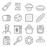 Bakery baker line icon set. Bakery baker including ingredient, chef, milk, jam line icon set Stock Images