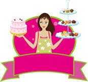 Bakery Baker Pastry Chef Girl Woman Diva. Female Pastry Chef holding Pastries vector illustration