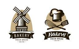 Bakery, bakeshop logo or label. Bakehouse, baking symbol. Vector illustration. Isolated on white background vector illustration