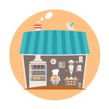 Bakery or bakeshop vector concept.  stock illustration