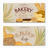 Bakery banners with bread, pastries and cereals. Stock Photo