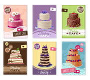 Bakery Banners Set. With fruit and chocolate cakes cartoon isolated vector illustration Stock Photography