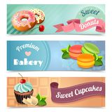 Bakery Banners Set. Bakery horizontal banners set with sweet donuts and cupcakes elements isolated vector illustration Stock Photography