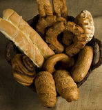 Bakery in a basket. Fresh bakery in a basket royalty free stock image