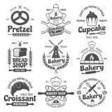 Bakery Black White Emblems Royalty Free Stock Images