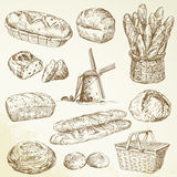 Bakery, bread, baguette. Bakery, bread - hand drawn set Stock Photography