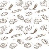 Bakery bread cereals vector sketch pattern stock illustration