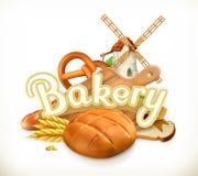 Bakery, Bread. 3d vector. Label Stock Image