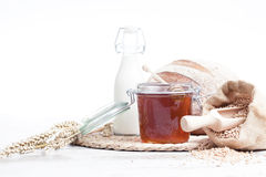 Bakery bread and honey Royalty Free Stock Photos