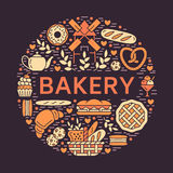 Bakery, bread house poster template. Vector food glyph icons, illustration of sweets, pretzel croissant, muffin, pastry Stock Image