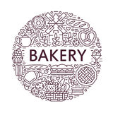 Bakery, bread house poster template. Vector food line icons, illustration of sweets, pretzel croissant, muffin, pastry vector illustration