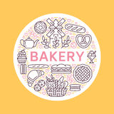 Bakery, bread house poster template. Vector food line icons, illustration of sweets, pretzel croissant, muffin, pastry royalty free illustration