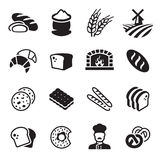 Bakery bread icon set. Black on a white background stock illustration