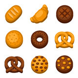 Bakery and Bread Icons Set. Vector Stock Photo