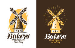Bakery, bread logo or label. Farm, agriculture, windmill, mill icon. Vintage vector illustration Royalty Free Stock Photography