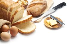 Bakery - Bread and others ingredient royalty free stock photos