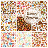 Bakery bread, pastry, patisserie sweets patterns Stock Images