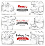 Bakery, bread and pastry shop sketch banner set Stock Images