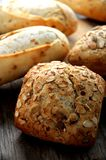 Bakery bread piece on kitchen wood table Stock Images
