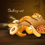 Bakery Bread Poster. With wheat pastry pie donuts and wheat ears on wooden table vector illustration royalty free illustration