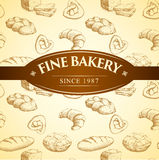 Bakery bread. seamless background pattern. Labels pack for bread Stock Illustration