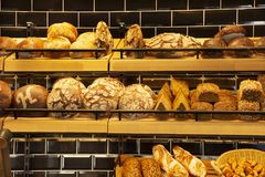Bakery bread shop and cafe for sale at heidelberger market in Heidelberg, Germany stock photos