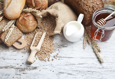 Bakery bread. Various Bread and Sheaf of Wheat Ears Royalty Free Stock Photos