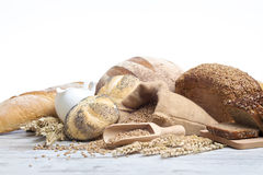 Bakery bread. Various Bread and Sheaf of Wheat Ears Royalty Free Stock Photo