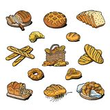 Bakery and bread vector baking breadstuff meal loaf or baguette baked by baker in bakehouse set illustration isolated on. White background vector illustration