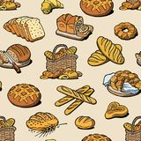 Bakery and bread vector baking breadstuff meal loaf or baguette baked by baker in bakehouse set illustration seamless. Pattern background royalty free illustration