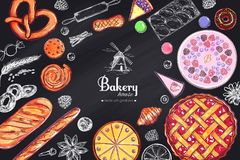 Bakery and Bread vector frame.1. Bakery and Bread vector frame. Different types of pastries and cakes with fruits and berries. Cherry pie vector illustration