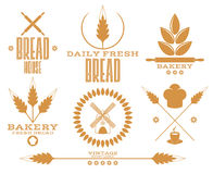 Bakery. Bread. Wheat. Isolated labels on white background Stock Image