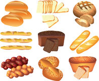 Bakery breads set Stock Photos