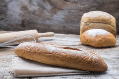 Bakery breads on a wooden table. Stock Photography