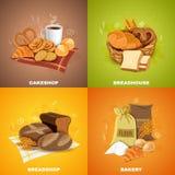 Bakery Breadshop 4 Flat Icons Square vector illustration
