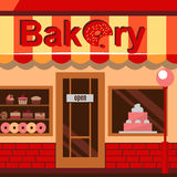 Bakery building with cakes, donuts and pies Royalty Free Stock Images