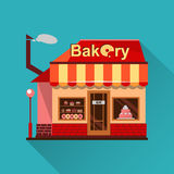 Bakery building with cakes, donuts and pies Royalty Free Stock Photography