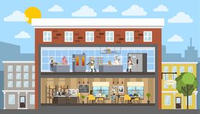 Bakery building interior with cafe and kitchen stock illustration