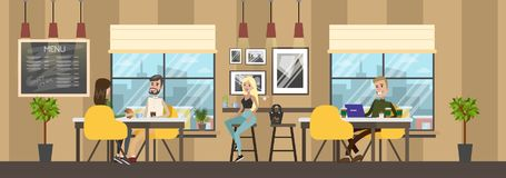 Bakery cafe interior with clients eating baked products vector illustration