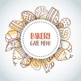 Bakery Cafe Menu text background. Sweet pastry, cupcakes, dessert poster with chocolate cake, sweets. Ice Cream Hand. Drawn sketch. Vector illustration royalty free illustration