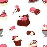 Bakery and cakes baked culinary products seamless pattern vector Royalty Free Stock Photos