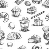 Bakery cakes and desserts cocktails sketches outline vector Stock Images
