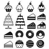 Bakery cakes icons. Vector illustration. Royalty Free Stock Photo