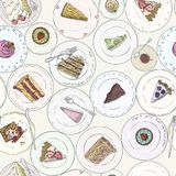 Bakery, Cakes, pastries linear seamless pattern. Sweet elements background. Hand drawn backdrop dessert on plate. Bakery, Cakes, pastries linear seamless pattern Stock Photography