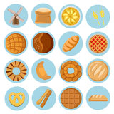 Bakery cereal grain flat vector icon set Royalty Free Stock Photos